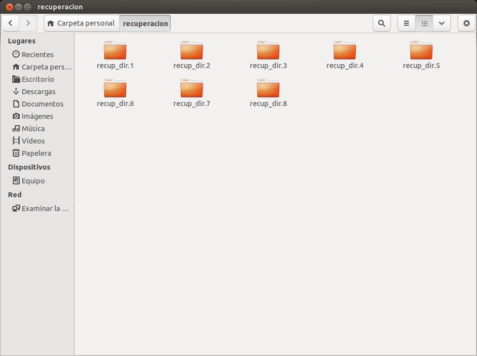 Imagen del resultado de la recuperación en linux