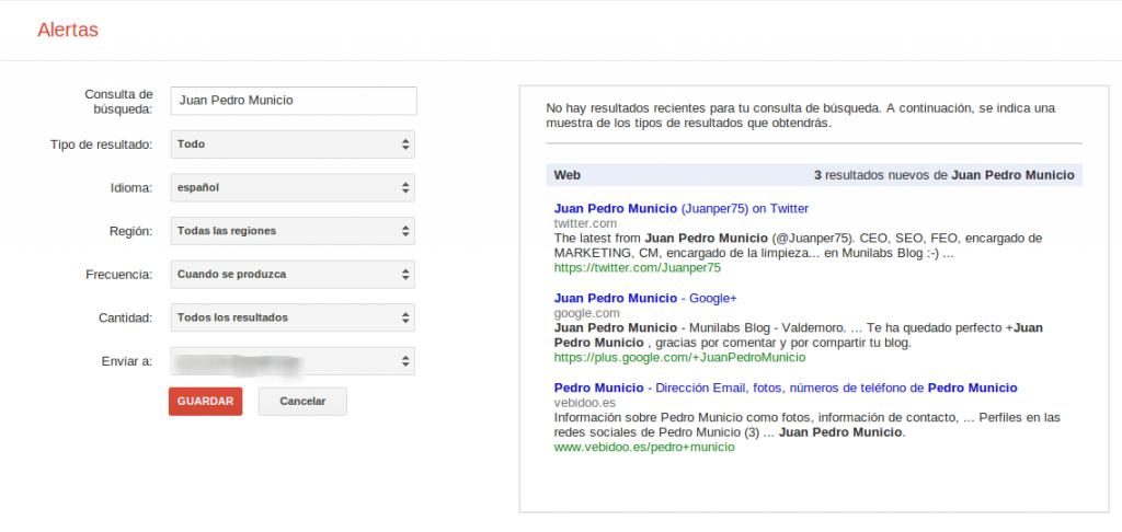 Configuración de una alerta personal en Google Alerts