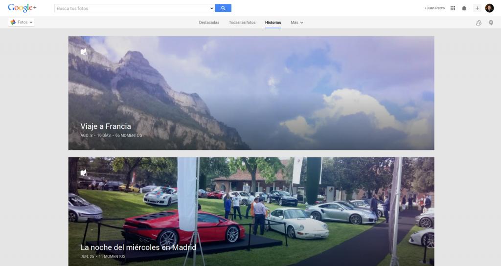 Ventana Historias Google+